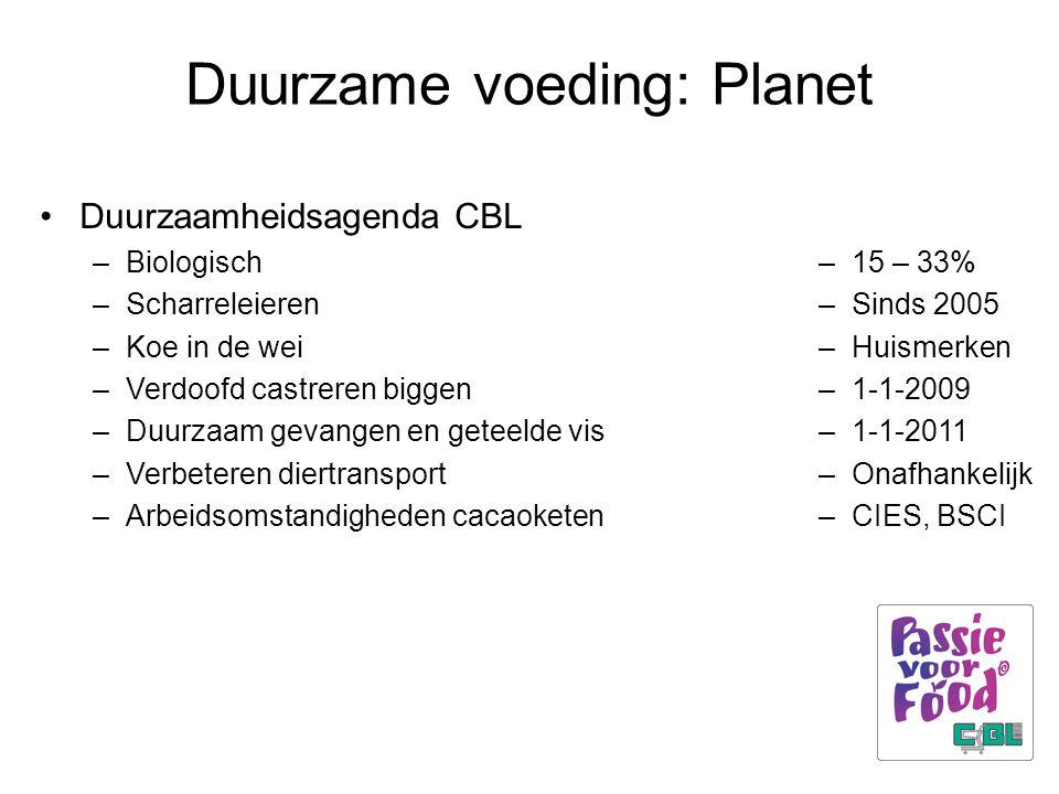Duurzame voeding: Planet Duurzaamheidsagenda CBL –Biologisch –Scharreleieren –Koe in de wei –Verdoofd castreren biggen –Duurzaam gevangen en geteelde vis –Verbeteren diertransport –Arbeidsomstandigheden cacaoketen –15 – 33% –Sinds 2005 –Huismerken –1-1-2009 –1-1-2011 –Onafhankelijk –CIES, BSCI