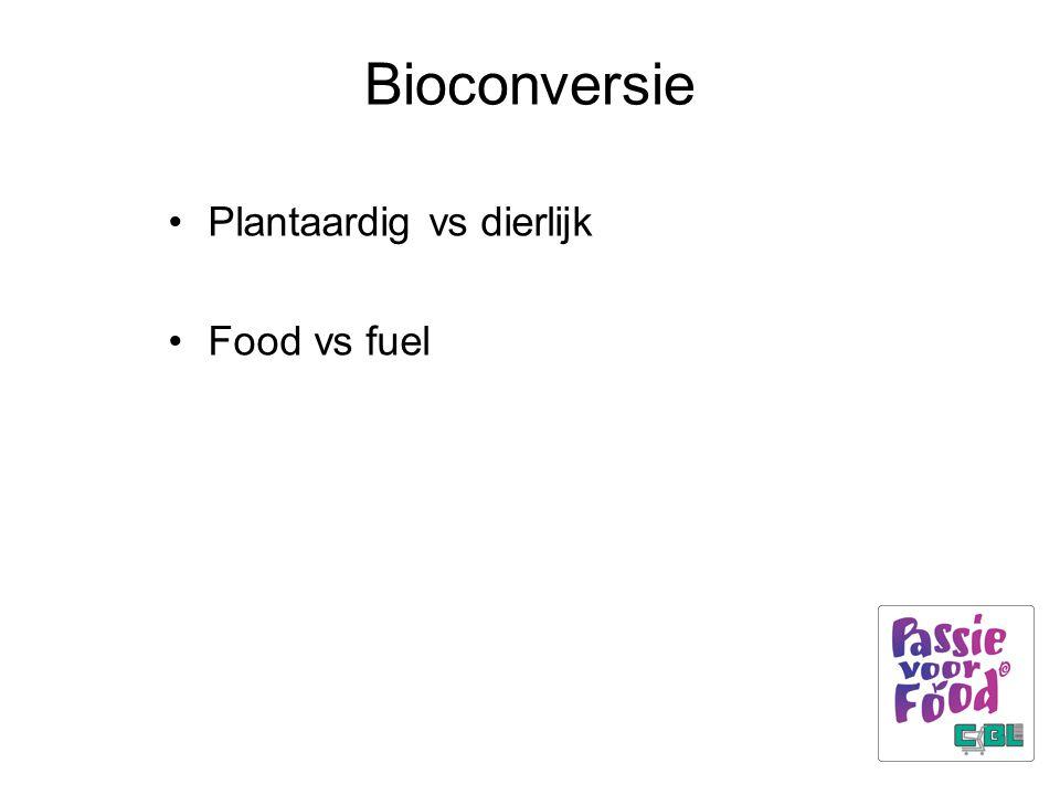 Bioconversie Plantaardig vs dierlijk Food vs fuel