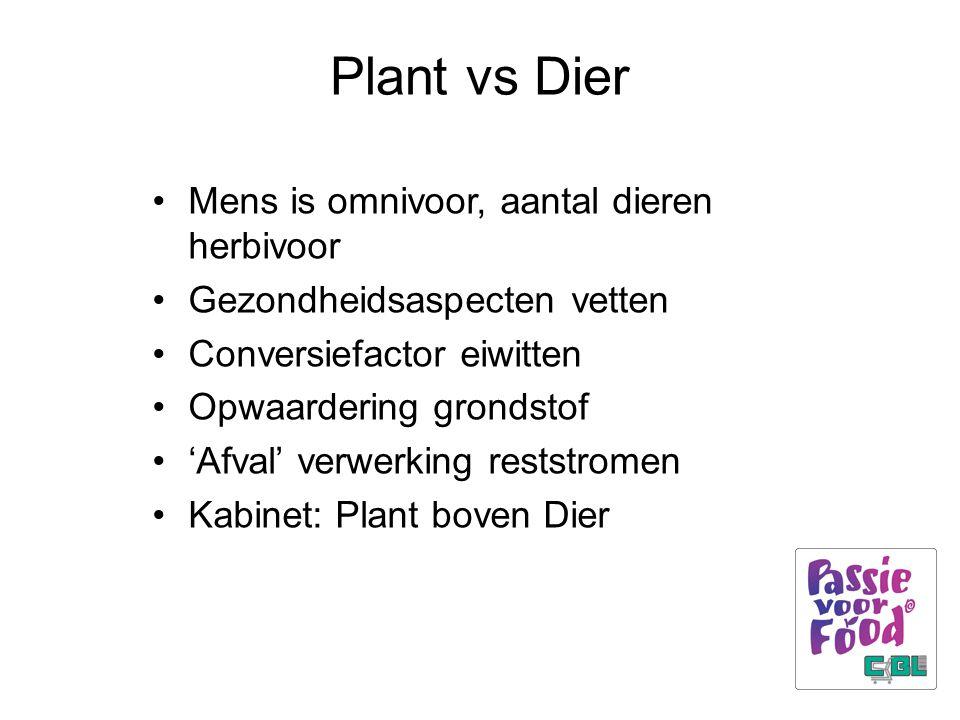 Plant vs Dier Mens is omnivoor, aantal dieren herbivoor Gezondheidsaspecten vetten Conversiefactor eiwitten Opwaardering grondstof 'Afval' verwerking reststromen Kabinet: Plant boven Dier