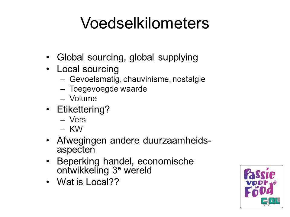 Voedselkilometers Global sourcing, global supplying Local sourcing –Gevoelsmatig, chauvinisme, nostalgie –Toegevoegde waarde –Volume Etikettering? –Ve