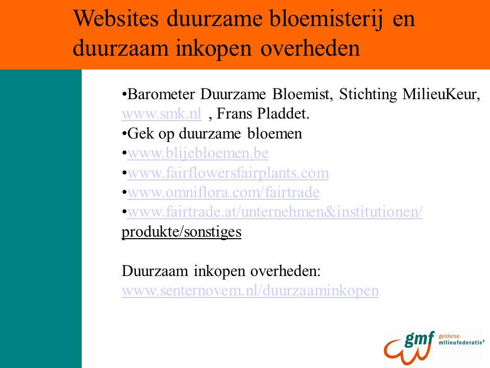 Barometer Duurzame Bloemist, Stichting MilieuKeur, www.smk.nlwww.smk.nl, Frans Pladdet.