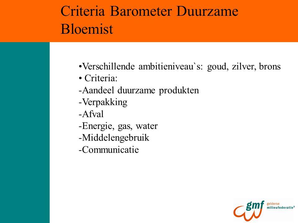 Criteria Barometer Duurzame Bloemist Verschillende ambitieniveau`s: goud, zilver, brons Criteria: -Aandeel duurzame produkten -Verpakking -Afval -Ener