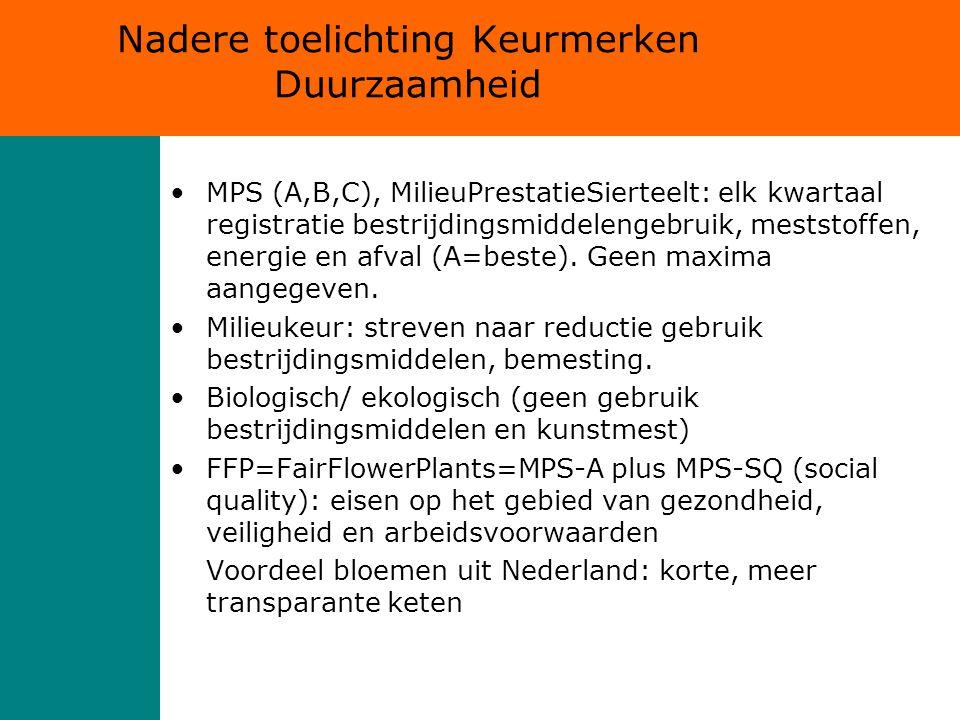 Nadere toelichting Keurmerken Duurzaamheid MPS (A,B,C), MilieuPrestatieSierteelt: elk kwartaal registratie bestrijdingsmiddelengebruik, meststoffen, energie en afval (A=beste).