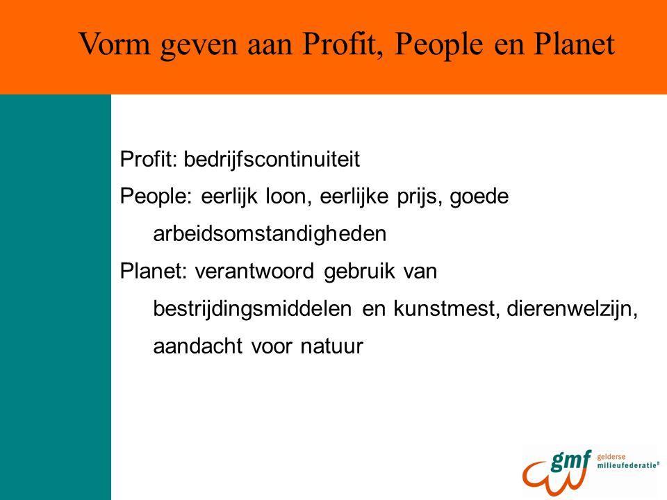 Profit: bedrijfscontinuiteit People: eerlijk loon, eerlijke prijs, goede arbeidsomstandigheden Planet: verantwoord gebruik van bestrijdingsmiddelen en kunstmest, dierenwelzijn, aandacht voor natuur Vorm geven aan Profit, People en Planet