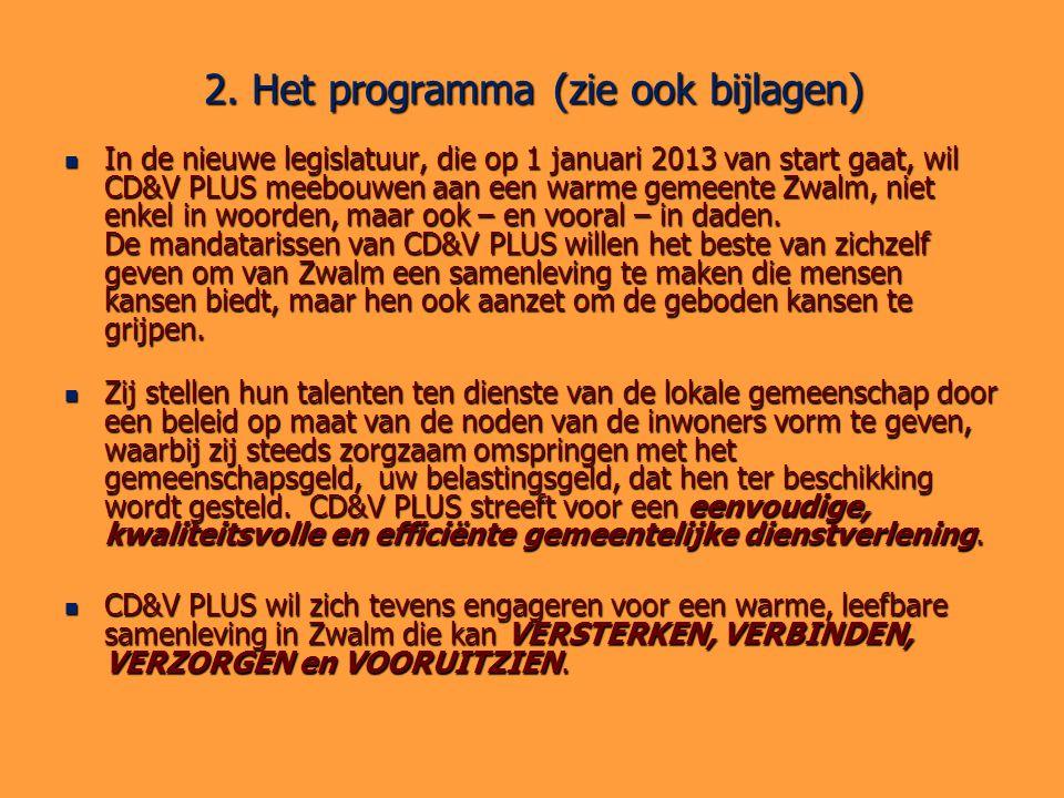 2. Het programma (zie ook bijlagen) In de nieuwe legislatuur, die op 1 januari 2013 van start gaat, wil CD&V PLUS meebouwen aan een warme gemeente Zwa