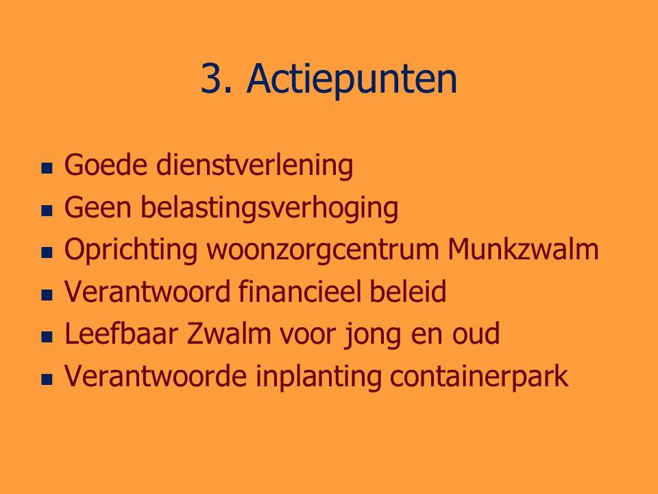 3. Actiepunten Goede dienstverlening Geen belastingsverhoging Oprichting woonzorgcentrum Munkzwalm Verantwoord financieel beleid Leefbaar Zwalm voor j