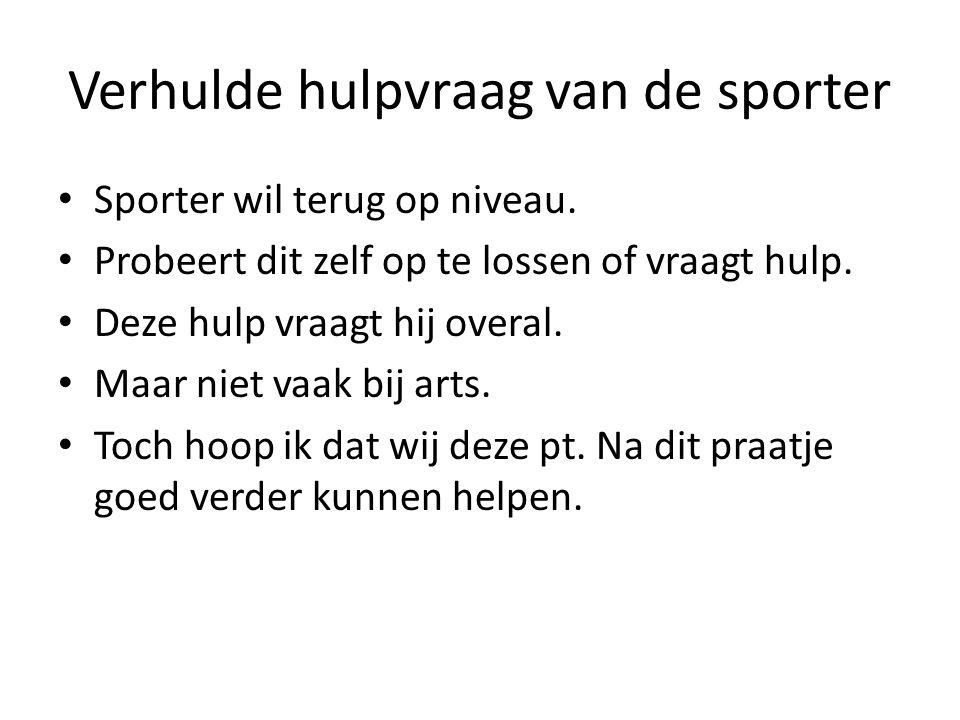 Verhulde hulpvraag van de sporter Sporter wil terug op niveau.