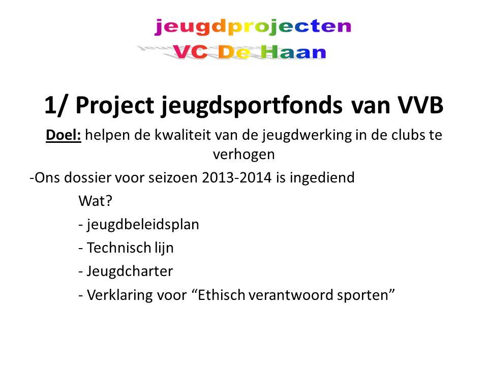1/ Project jeugdsportfonds van VVB Doel: helpen de kwaliteit van de jeugdwerking in de clubs te verhogen -Ons dossier voor seizoen 2013-2014 is ingediend Wat.