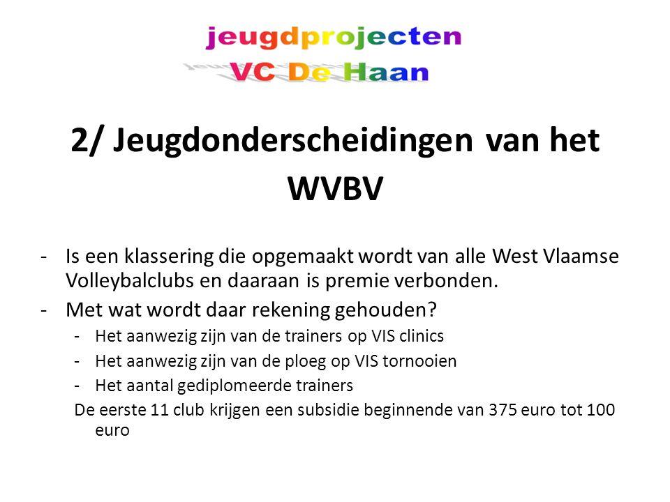 2/ Jeugdonderscheidingen van het WVBV -Is een klassering die opgemaakt wordt van alle West Vlaamse Volleybalclubs en daaraan is premie verbonden.