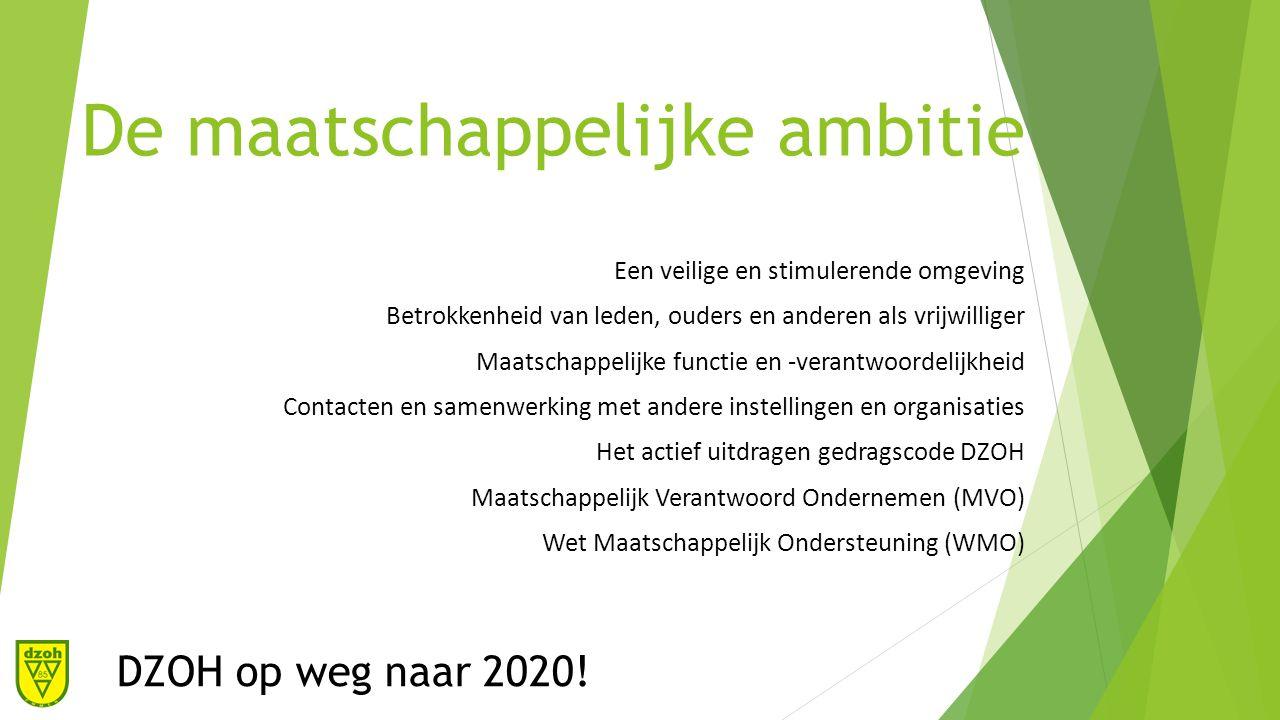 De maatschappelijke ambitie Een veilige en stimulerende omgeving Betrokkenheid van leden, ouders en anderen als vrijwilliger Maatschappelijke functie en -verantwoordelijkheid Contacten en samenwerking met andere instellingen en organisaties Het actief uitdragen gedragscode DZOH Maatschappelijk Verantwoord Ondernemen (MVO) Wet Maatschappelijk Ondersteuning (WMO) DZOH op weg naar 2020!