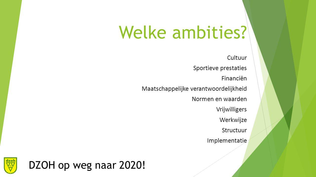 De cultuur ambitie Samenwerken Spelplezier en ontwikkeling Maatschappelijke functie Goed financieel beleid Duidelijkheid DZOH op weg naar 2020!