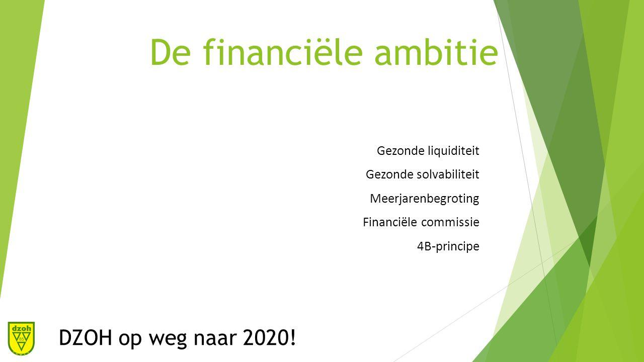 De financiële ambitie DZOH op weg naar 2020.