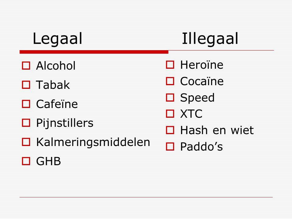 Legaal Illegaal  Alcohol  Tabak  Cafeïne  Pijnstillers  Kalmeringsmiddelen  GHB  Heroïne  Cocaïne  Speed  XTC  Hash en wiet  Paddo's