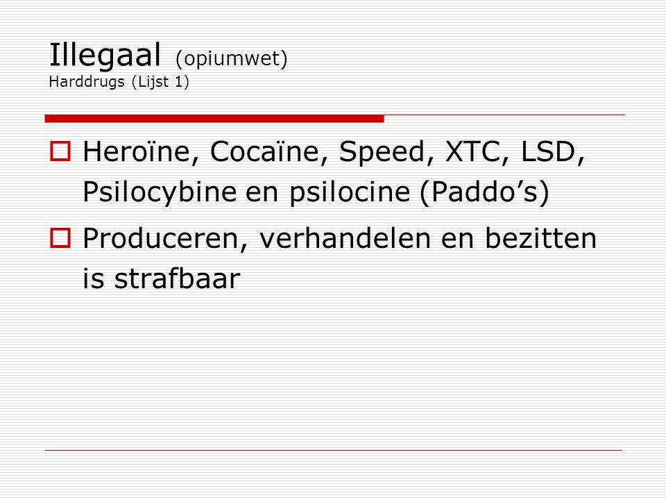 Illegaal (opiumwet) Harddrugs (Lijst 1)  Heroïne, Cocaïne, Speed, XTC, LSD, Psilocybine en psilocine (Paddo's)  Produceren, verhandelen en bezitten