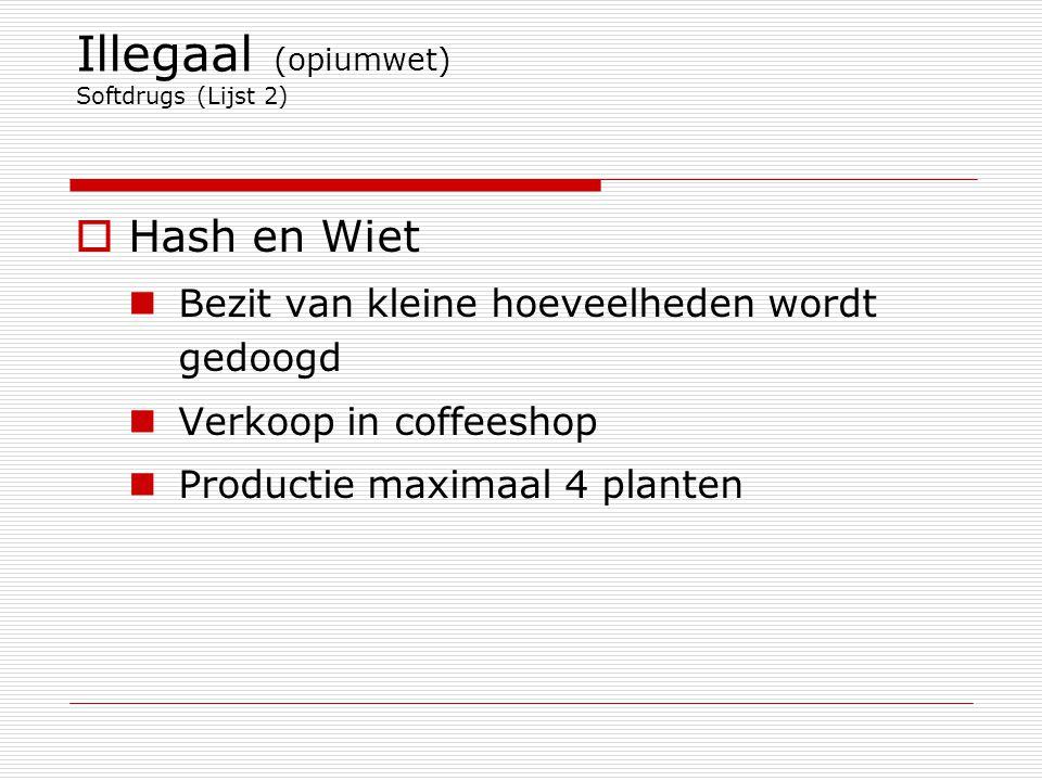 Illegaal (opiumwet) Softdrugs (Lijst 2)  Hash en Wiet Bezit van kleine hoeveelheden wordt gedoogd Verkoop in coffeeshop Productie maximaal 4 planten