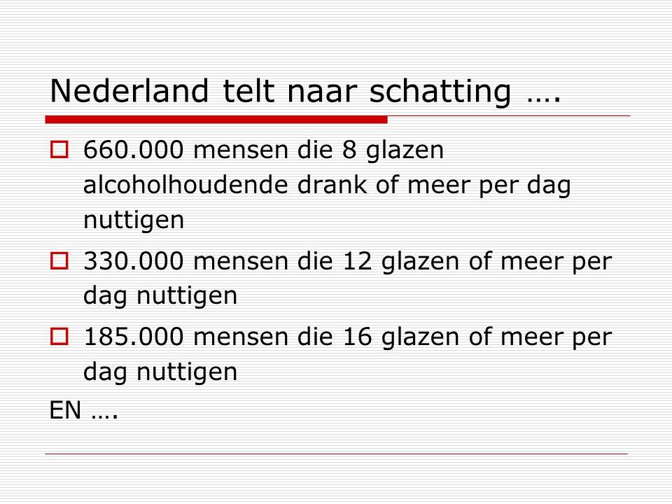 Nederland telt naar schatting ….  660.000 mensen die 8 glazen alcoholhoudende drank of meer per dag nuttigen  330.000 mensen die 12 glazen of meer p