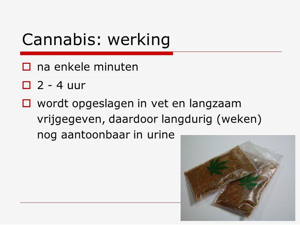 Cannabis: werking  na enkele minuten  2 - 4 uur  wordt opgeslagen in vet en langzaam vrijgegeven, daardoor langdurig (weken) nog aantoonbaar in uri