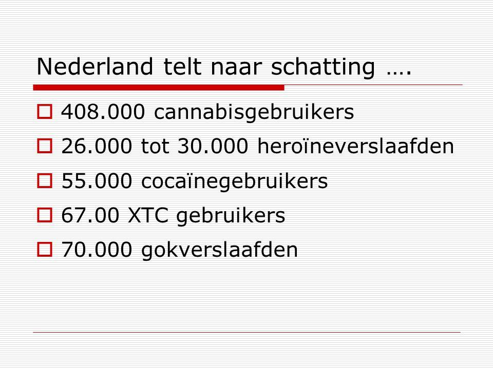 Nederland telt naar schatting ….  408.000 cannabisgebruikers  26.000 tot 30.000 heroïneverslaafden  55.000 cocaïnegebruikers  67.00 XTC gebruikers