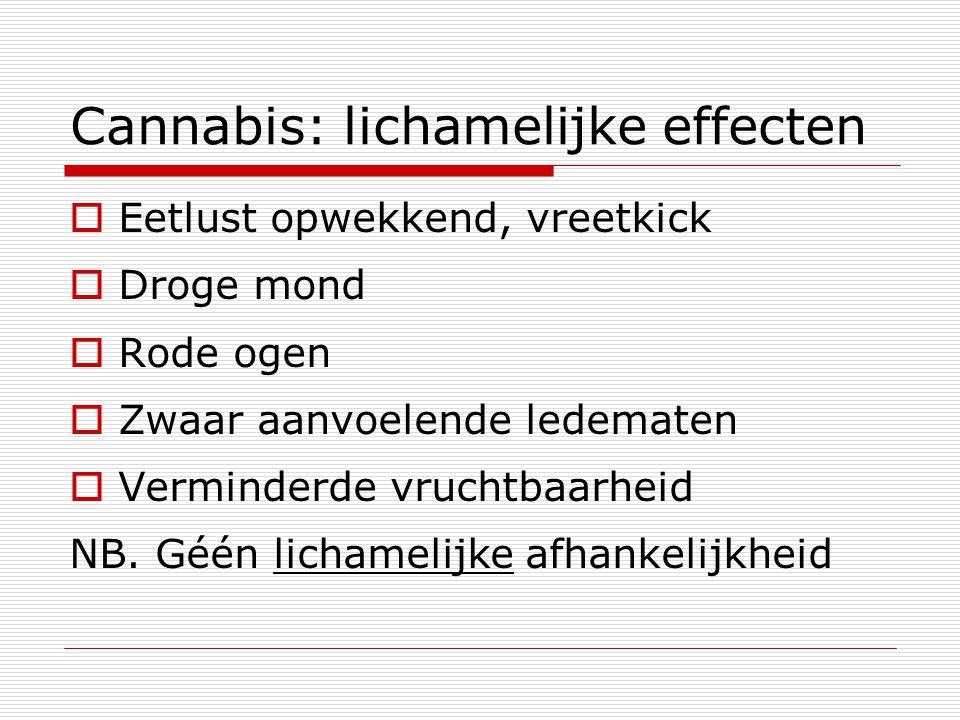 Cannabis: lichamelijke effecten  Eetlust opwekkend, vreetkick  Droge mond  Rode ogen  Zwaar aanvoelende ledematen  Verminderde vruchtbaarheid NB.