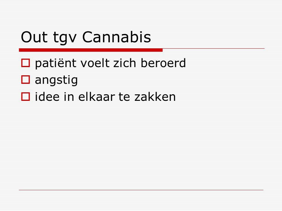 Out tgv Cannabis  patiënt voelt zich beroerd  angstig  idee in elkaar te zakken