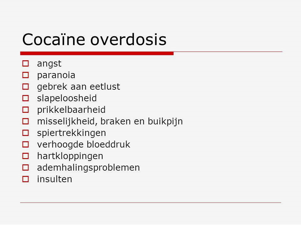 Cocaϊne overdosis  angst  paranoia  gebrek aan eetlust  slapeloosheid  prikkelbaarheid  misselijkheid, braken en buikpijn  spiertrekkingen  ve
