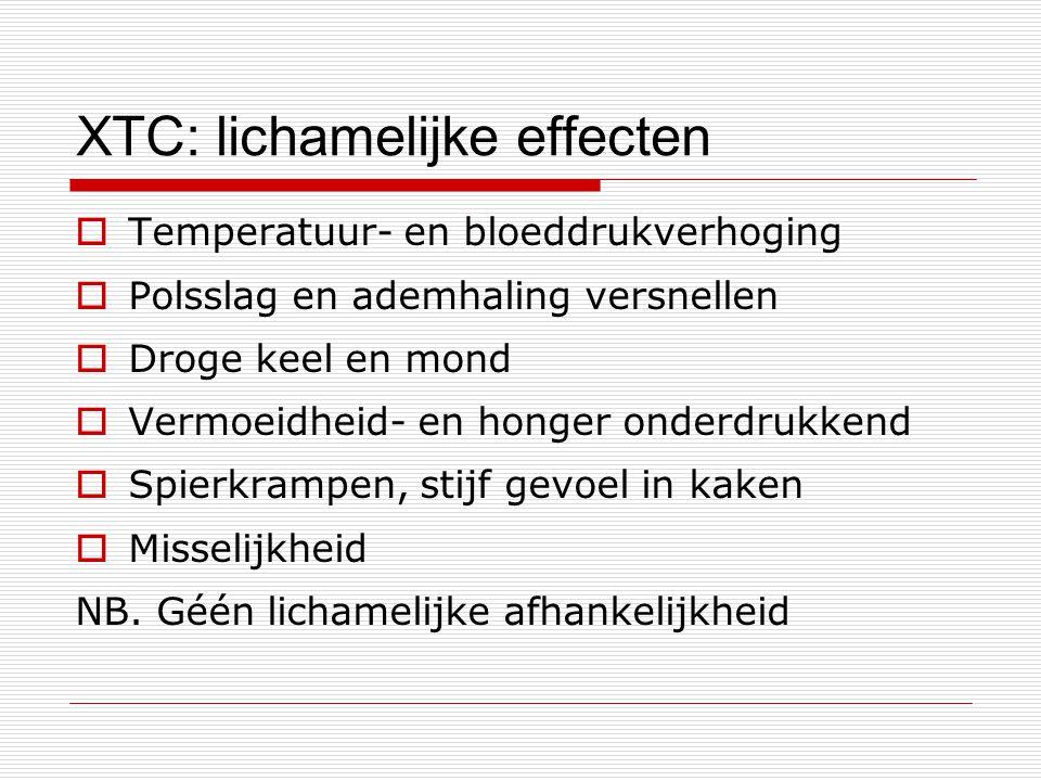 XTC: lichamelijke effecten  Temperatuur- en bloeddrukverhoging  Polsslag en ademhaling versnellen  Droge keel en mond  Vermoeidheid- en honger ond