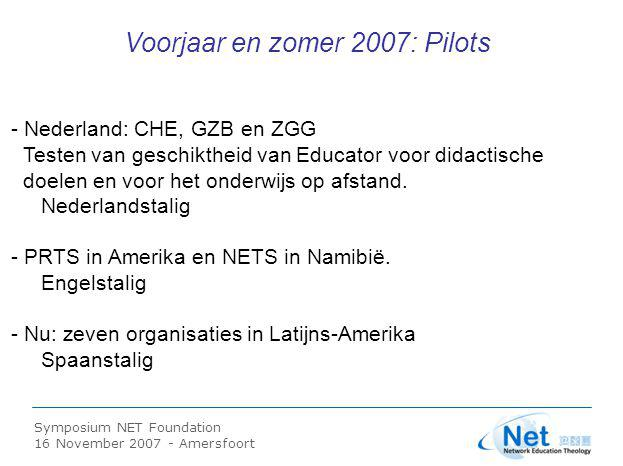 Symposium NET Foundation 16 November 2007 - Amersfoort Tweesporenbeleid t.a.v.