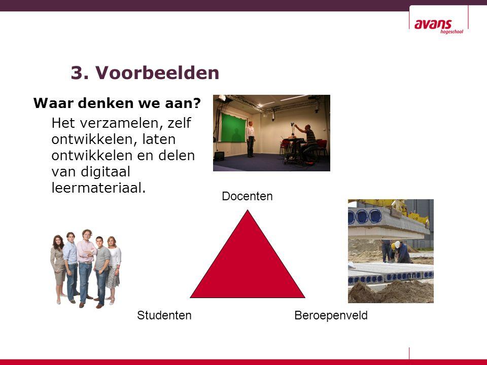 3. Voorbeelden Waar denken we aan? Het verzamelen, zelf ontwikkelen, laten ontwikkelen en delen van digitaal leermateriaal. Docenten StudentenBeroepen