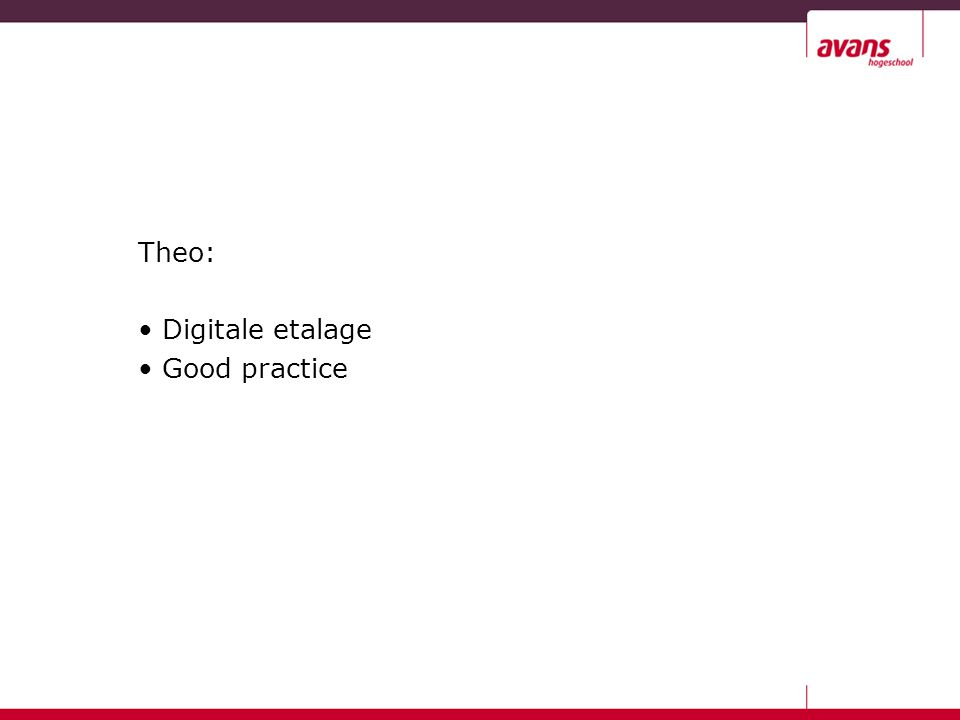 Theo: Digitale etalage Good practice