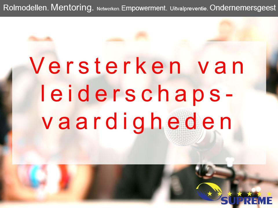 Versterken van leiderschaps- vaardigheden Rolmodellen. Mentoring. Netwerken. Empowerment. Uitvalpreventie. Ondernemersgeest