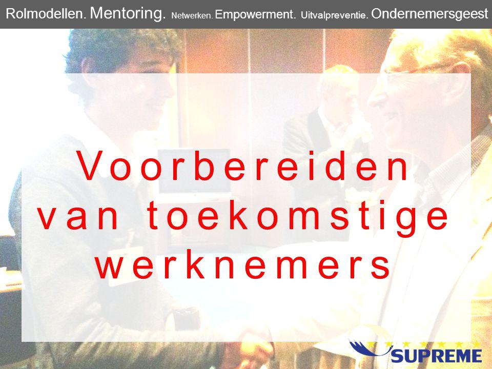 Voorbereiden van toekomstige werknemers Rolmodellen. Mentoring. Netwerken. Empowerment. Uitvalpreventie. Ondernemersgeest
