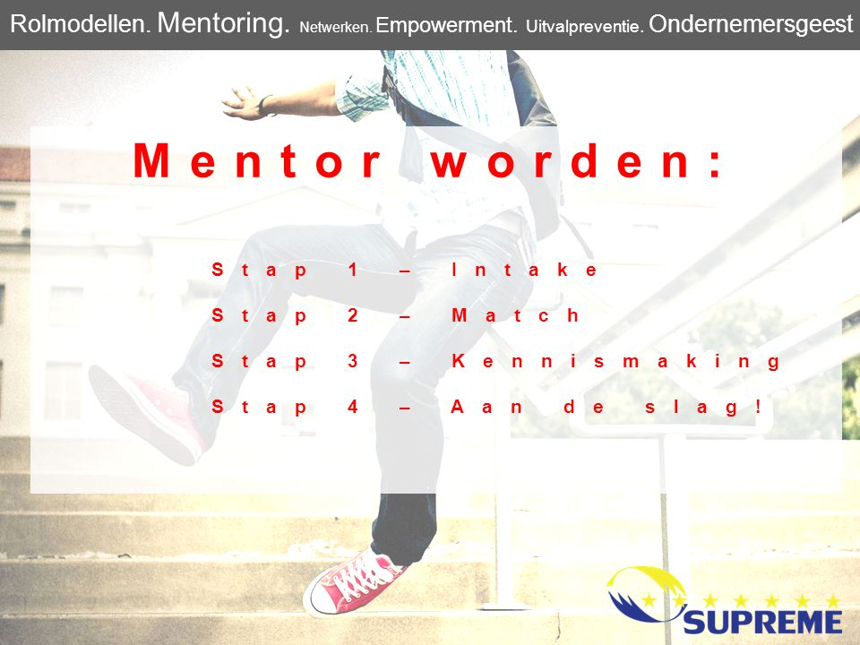 Mentor worden: Stap 1 – Intake Stap 2 – Match Stap 3 – Kennismaking Stap 4 – Aan de slag! Rolmodellen. Mentoring. Netwerken. Empowerment. Uitvalpreven