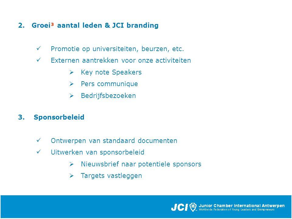 2. Groei³ aantal leden & JCI branding Promotie op universiteiten, beurzen, etc.