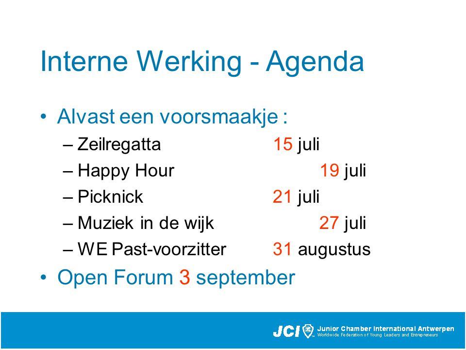 Interne Werking - Agenda Alvast een voorsmaakje : –Zeilregatta 15 juli –Happy Hour 19 juli –Picknick 21 juli –Muziek in de wijk 27 juli –WE Past-voorzitter 31 augustus Open Forum 3 september