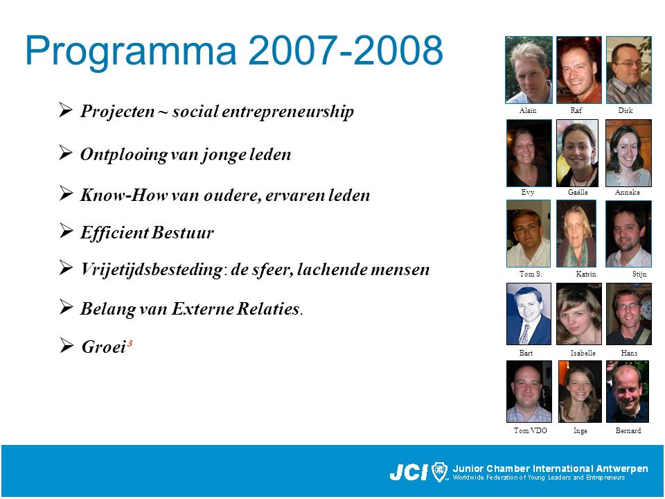 Programma 2007-2008 Alain Raf Dirk Evy Gaëlle Anneke Bart Isabelle Hans Tom S.