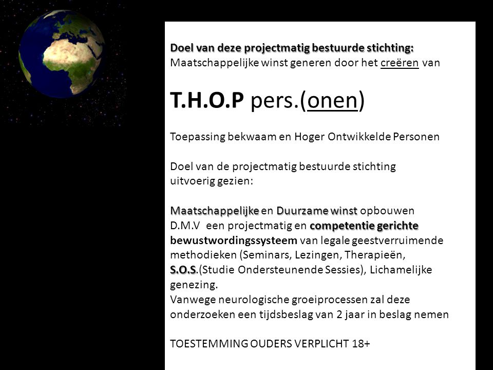 M.V.O.– gerelateerde activiteiten namens Stichting N.O.G.
