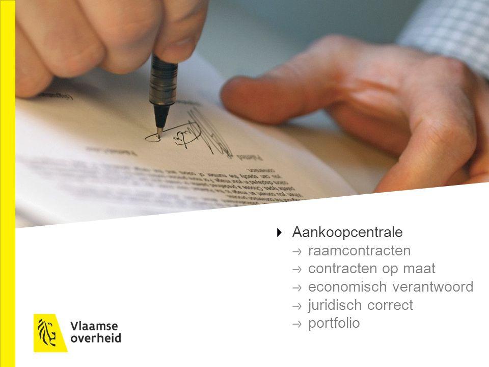 Aankoopcentrale raamcontracten contracten op maat economisch verantwoord juridisch correct portfolio