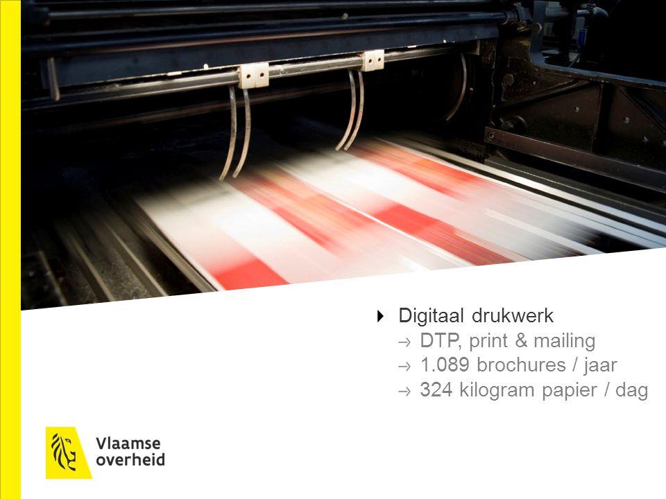 Digitaal drukwerk DTP, print & mailing 1.089 brochures / jaar 324 kilogram papier / dag