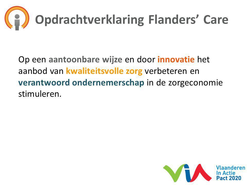 Opdrachtverklaring Flanders' Care Op een aantoonbare wijze en door innovatie het aanbod van kwaliteitsvolle zorg verbeteren en verantwoord ondernemers