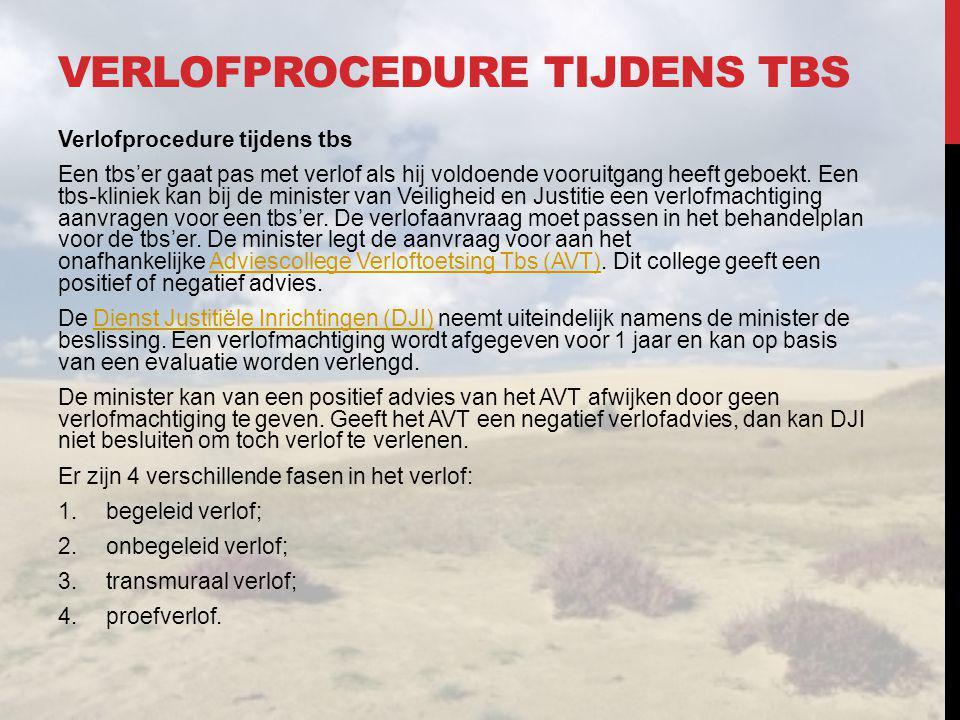 VERLOFPROCEDURE TIJDENS TBS Verlofprocedure tijdens tbs Een tbs'er gaat pas met verlof als hij voldoende vooruitgang heeft geboekt. Een tbs-kliniek ka