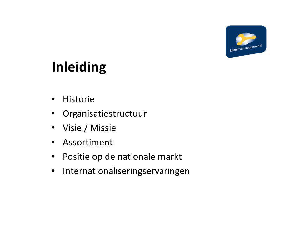 Inleiding Historie Organisatiestructuur Visie / Missie Assortiment Positie op de nationale markt Internationaliseringservaringen