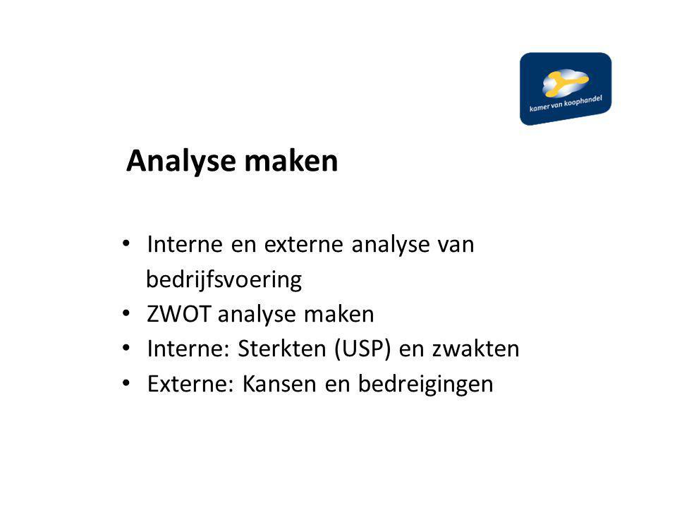 Analyse maken Interne en externe analyse van bedrijfsvoering ZWOT analyse maken Interne: Sterkten (USP) en zwakten Externe: Kansen en bedreigingen