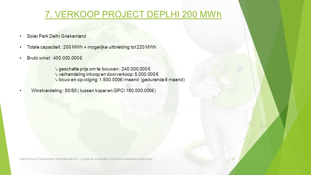 10 7. VERKOOP PROJECT DEPLHI 200 MWh Solar Park Delhi Griekenland Totale capaciteit : 200 MWh + mogelijke uitbreiding tot 220 MWh Bruto winst : 400.00