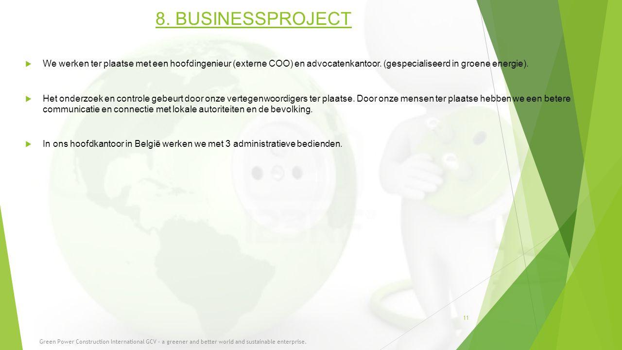 8. BUSINESSPROJECT  We werken ter plaatse met een hoofdingenieur (externe COO) en advocatenkantoor. (gespecialiseerd in groene energie).  Het onderz