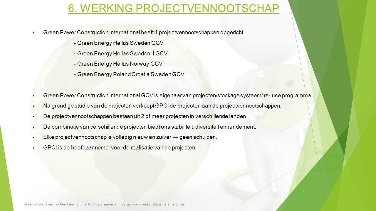 6. WERKING PROJECTVENNOOTSCHAP Green Power Construction International heeft 4 projectvennootschappen opgericht. - Green Energy Hellas Sweden GCV - Gre