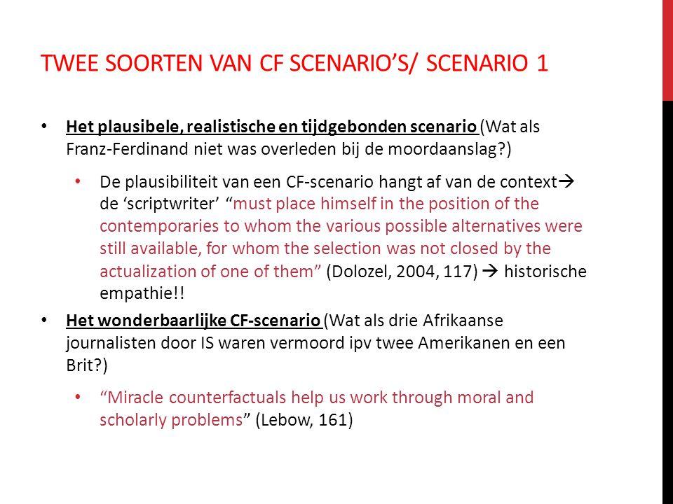TWEE SOORTEN VAN CF SCENARIO'S/ SCENARIO 1 Het plausibele, realistische en tijdgebonden scenario (Wat als Franz-Ferdinand niet was overleden bij de mo