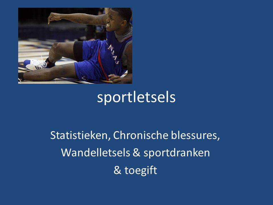 sportletsels Statistieken, Chronische blessures, Wandelletsels & sportdranken & toegift