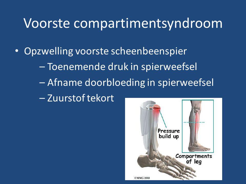 Voorste compartimentsyndroom Opzwelling voorste scheenbeenspier – Toenemende druk in spierweefsel – Afname doorbloeding in spierweefsel – Zuurstof tek