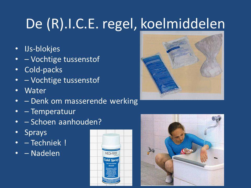 De (R).I.C.E. regel, koelmiddelen IJs-blokjes – Vochtige tussenstof Cold-packs – Vochtige tussenstof Water – Denk om masserende werking – Temperatuur
