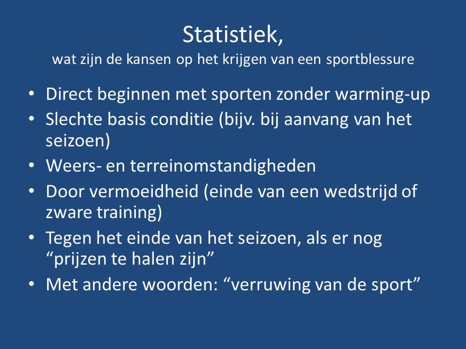 Statistiek, wat zijn de kansen op het krijgen van een sportblessure Direct beginnen met sporten zonder warming-up Slechte basis conditie (bijv. bij aa